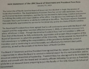 Joint Statement of UNC Board of Governors  and President Tom Ross