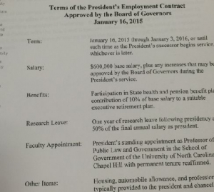 Terms of the President's Employment Contract as approved by the Board of Governors