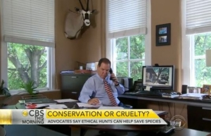 Kieran Shanahan discusses conservation hunting with CBS News. (Image:CBSnews.com)