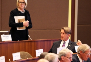 Former federal Education Sec. Margaret Spellings at Friday's UNC Board of Governors meeting.