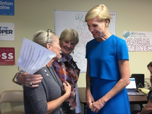 Planned Parenthood CEO Cecile Richards meets with voters Tuesday at the Democratic field office in Cary. Photo by Melissa Boughton