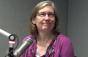 CCF Executive Director Joan Alker give a radio interview