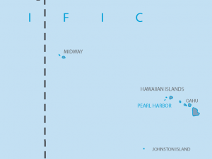 A map shows Midway Atoll lies northwest of Hawaii.