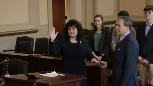 Judge April Wood is sworn in at Court of Appeals investiture ceremony on Jan. 14, 2021.