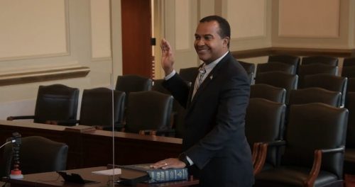 Judge Fred Gore is sworn in at Court of Appeals investiture ceremony on Jan. 14, 2021.