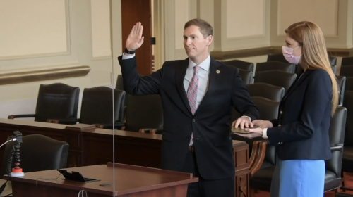 Judge Jefferson Griffin is  sworn in at Court of Appeals investiture ceremony on Jan. 14, 2021.